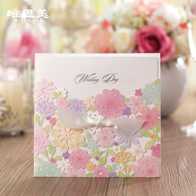 wishmade multicolor laser cut flora flower hollow wedding invitations with ribbon elegant bride shower favors cards