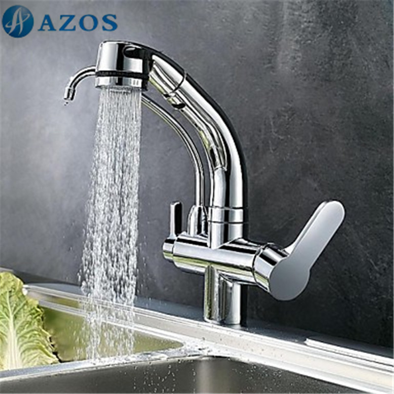 Kitchen Sink Faucets Modern 2 Spout Rotatable Hose Shower Head Pull ...