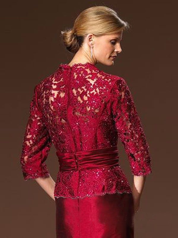 Beaded-Red-Lace-Taffeta-Trumpet-Long-Mother-of-the-Bride-Lace-Dresses-3-4-Sleeves-V (1)
