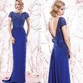 Azul real que rebordea V largo barrido tren lf2739 madre de la novia piso longitud vestidos de boda vestido de la madre 2015 MBD167