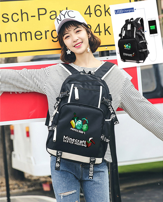 2017 Newest Youth Academy Style Minecraft Glowing backpackmodel minecraft creeper backpack for unisex GAME Birthday gift kids