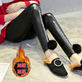 Материнство Брюки Бархат ПУ Кожаные Штаны Беременных женщин моды карандаш брюки зима Черный Письмо цветок Письмо Искусственной Кожи