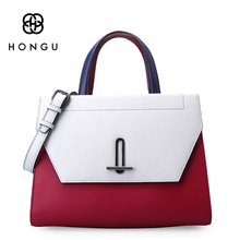 Hongu Light Luxury Genuine Leather Women Hit Color Handle Tote handbags Famous Brand Lady Shoulder Bag Individual designer louis