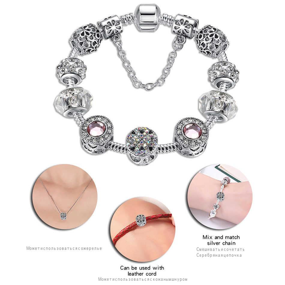 Оригинал, серебро 925 пробы, кристал, клевер с четырьмя листами, браслет с чистым муранским стеклом, бусы, очаровательный браслет, для женщин, сделай сам, ювелирное изделие