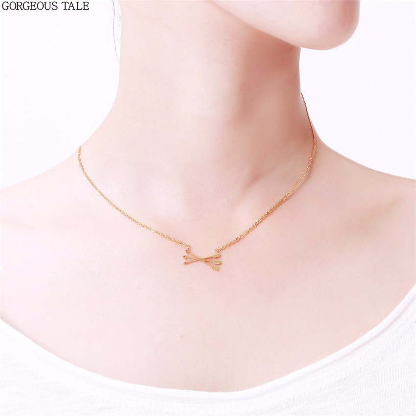 ACEBFEET Simple Unique Jewelry Gold Silver Piercing Intersect Arrows Pendant Collar Stainless Steel Punk Style Necklace