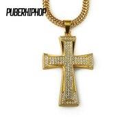 Hip Hop Colar de Pingente de Cruz de Ouro Para Homens Iverson Egípcio Ankh Chave Cadeia Cruzar Com Presentes da Jóia de Bling Cadeia de Strass
