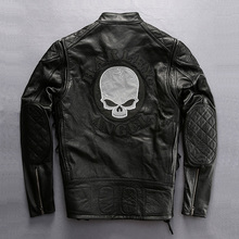 Read Description! Asian size mens fashion classic motorcycle rider cow leather coat skull genuine cattle leather jacket
