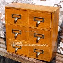 Zakka, acabado retro, vintage, 6, gabinete de almacenamiento de escritorio, gabinete de almacenamiento, manija de bronce, cajón, gabinete