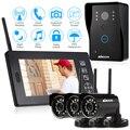 "KKmoon 2.4GHz Wireless 7"" LCD Color Video Door Phone Doorbell Intercom System + 3PCS Night Vision 12 IR LEDS CCTV Camera"