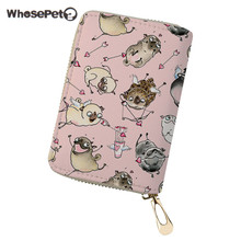 WHOSEPET Women Credit Card Holder Pug Dog Printed Lady Coin Purse Passport Case Female Card Wallet With Zipper ID Card Holder недорого