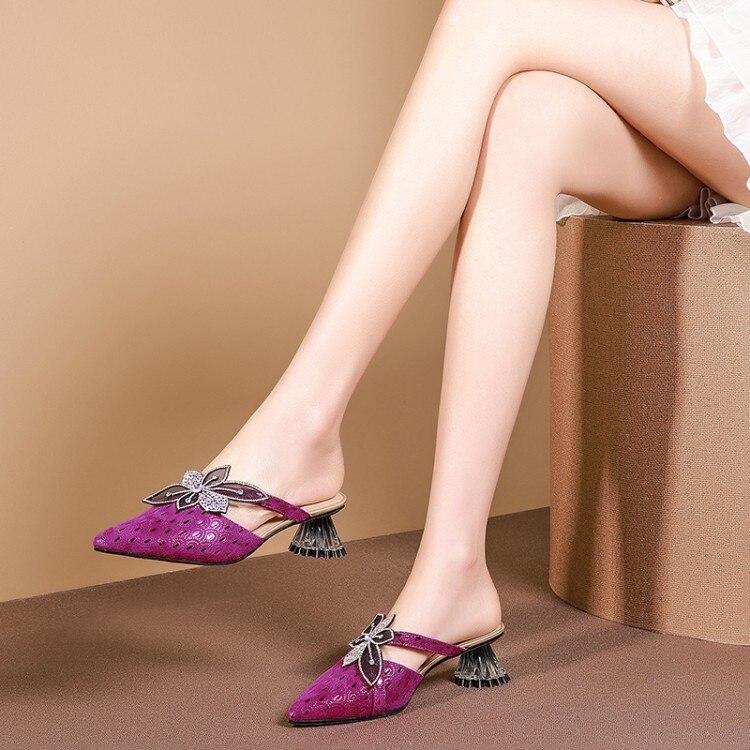 MLJUESE 2019 frauen hausschuhe Schaffell Rom stil spitz lila farbe seltsame ferse strände sandalen partei größe 34 42-in Hausschuhe aus Schuhe bei  Gruppe 1