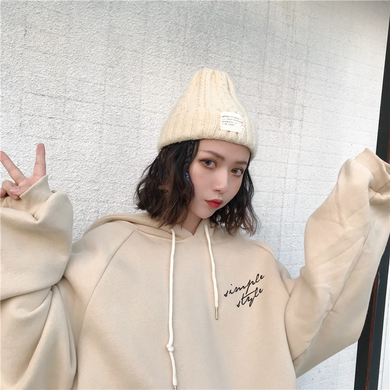 Hoodies Women Winter Elegant Trendy Leisure Hooded Solid Womens Pullover Students Letter Printed Long Sleeve Ladies Sweatshirts 25