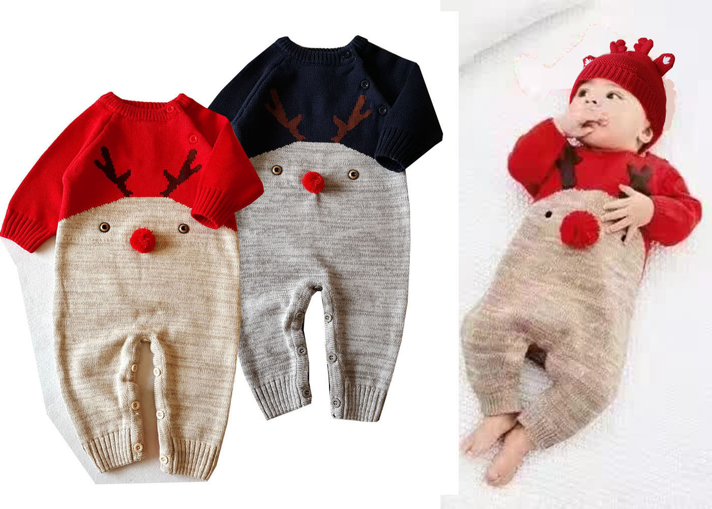 Autumn and winter new cotton line baby piece of clothing Christmas elk section of jeans clothing