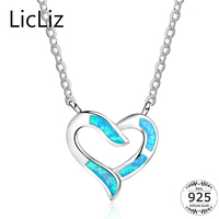 LicLiz 925 Sterling Silver Heart Pendant Necklace Women Blue Fire Opal Necklace Drops Charms Link Chains