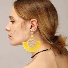 HOCOLE Handmade Rattan Knit Tassel Drop Earrings For Women Fashion Bohemian Geometric Fringed Dangle Earring Jewelry Party Gifts