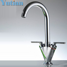 Brass Quality Guarantee! double handle kitchen sink tap ,kitchen mixer,round swivel Kitchen Faucets,torneira YT-6041