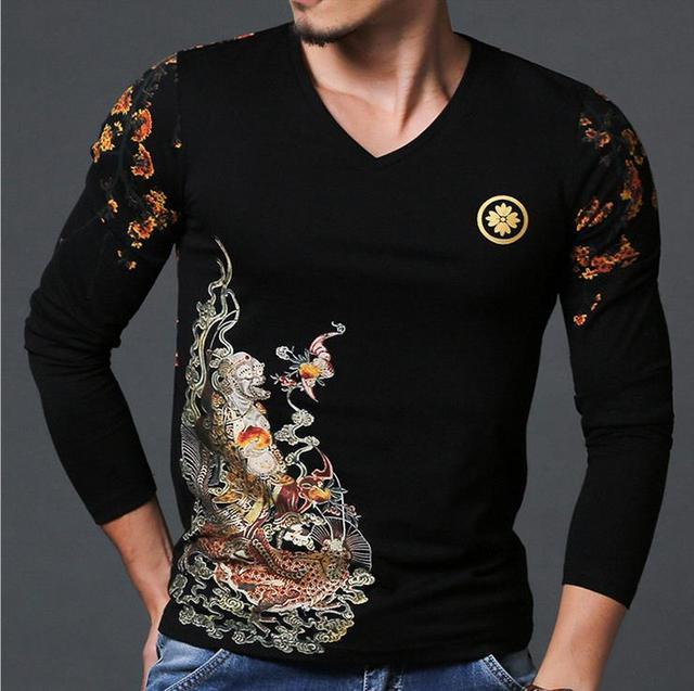 Luxury T Shirt Men 2016 Brand Designer Long Sleeve V-Neck T Shirt Fitness Fashion Print T Shirt Homme Hot Sale Camisa Masculina
