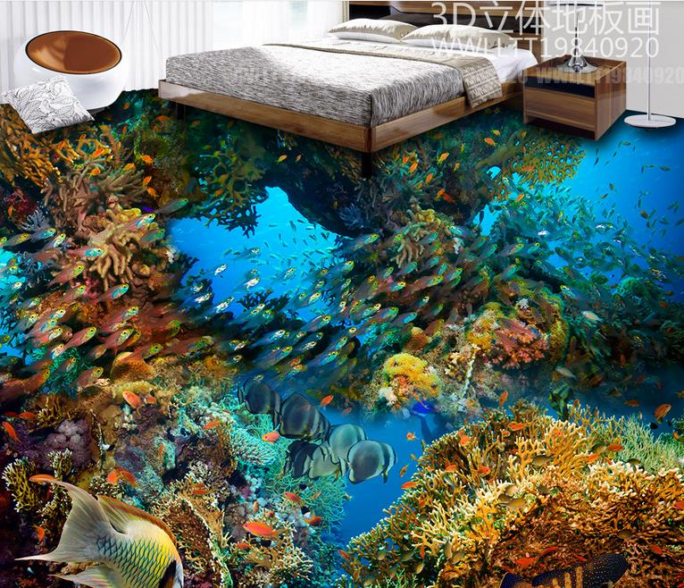 Papel de Parede 3D Floor Painting Custom The underwater world Wallpaper For Walls 3 D Vinil Flooring wall papers home decor free shipping high quality hd underwater world 3d flooring painting wallpaper kitchen office wear floor mural