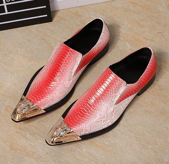 zobairou Luxury Men's Designer Leather Loafers Sexy Wedding Shoes For Men Pointed Toe Metallic Mens Blue Dress Shoes