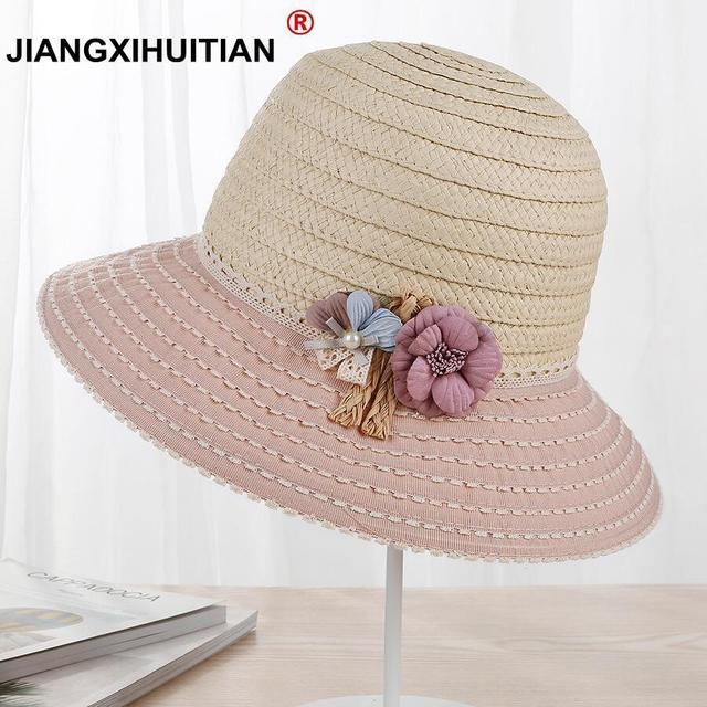 2018 Womens Fashion Summer Straw hat Sun hat Folding Travel Beach Cap new  Lovely Flower Pearl UV protection panama hat 03ac9ce0d1a6