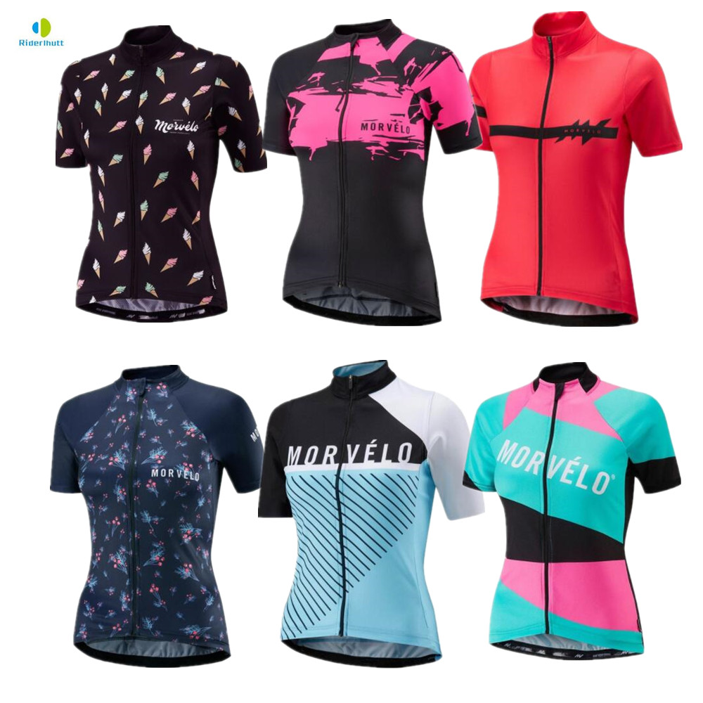 Riderlhutt Morvelo Women's Girls Summer Short Sleeve Cycling Jersey Bicycle Road MTB
