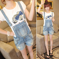 Summer women's spaghetti strap the disassemblability denim bib pants female loose all-match denim one piece shorts