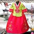 Многоцветный детский ханбок весна платье принцессы юбка корейский костюмы девушки национальный костюм танец traidtional платье