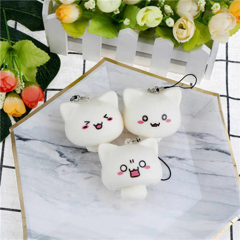 Meremas Lembut Anak-anak Mainan Hadiah Kawaii Hewan Mochi Putih Multi Ekspresi Jamur Kelinci Mainan Licin Ponsel Tali Liontin