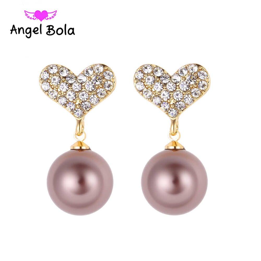 Stud Earrings Jewelry New Fashion Heart Design Luxury Sparkling Rhinestone Pearl Earrings Fit Woman Party Earrings ZE-011