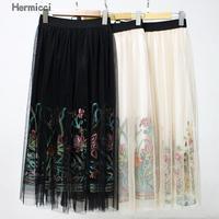 Hermicci Bohemian Skirt Women Vintage Long Skirt Ladies Beach Black Floral Embroidered Mesh Overlay A Line Midi Skirt