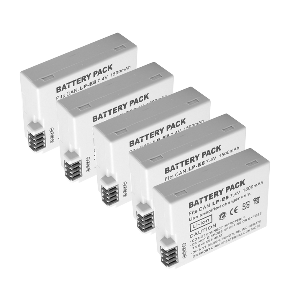 Hot sale,5 pcs 1500mAh bateria LP-E8 lp-e8 Battery For Canon 550D 600D 650D 700D X4 X5 X6i X7i T2i T3i T4i T5i DSLR Camera original brand new lp e8 lpe8 battery for canon eos 550d 600d 650d 700d kiss x4 x5 x6i x7i rebel t2i t3i t4i t5i lc e8e camera