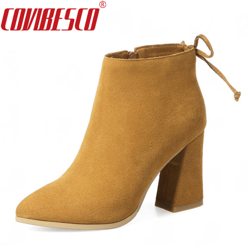 COVIBESCO 2017 Top Quality Genuine Leather Women Boots High Heels Ankle Snow Boots Warm Winter Fashion