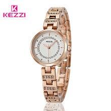 KW-1041 KEZZI Marca Mujeres Pulsera de Acero Inoxidable de la Manera Viste el Reloj De Lujo A Prueba de agua Reloj de Cuarzo Relogio Feminino KZ20