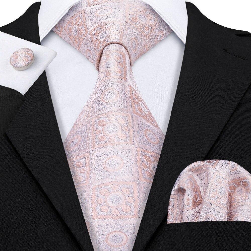 New Novelty Men Dress Tie 100% Silk Rose Gold Wedding Tie For Men Business 8.5cm Wide Necktie Handkerchief Barry.Wang LS-5078