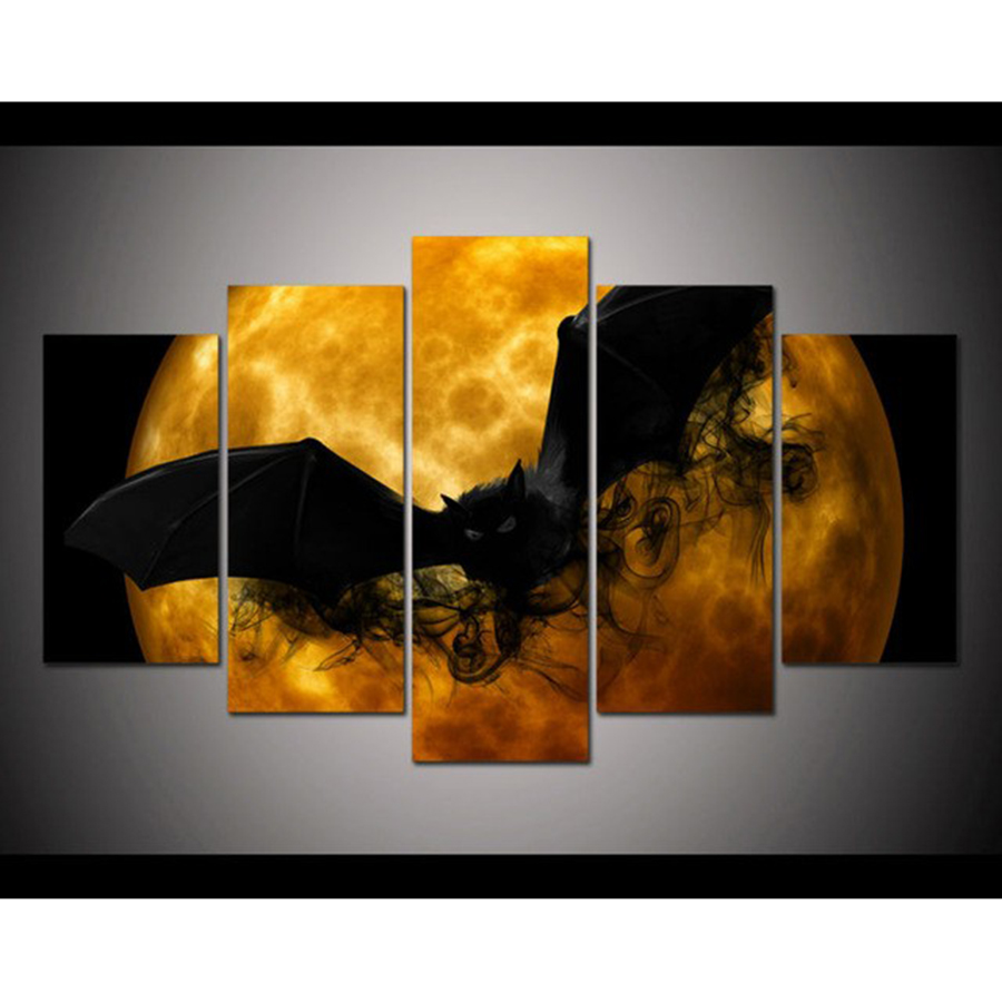 5 Pieces set wall art Print crazy Halloween picture black bat orange moon poster home Painting decorations in Painting Calligraphy from Home Garden
