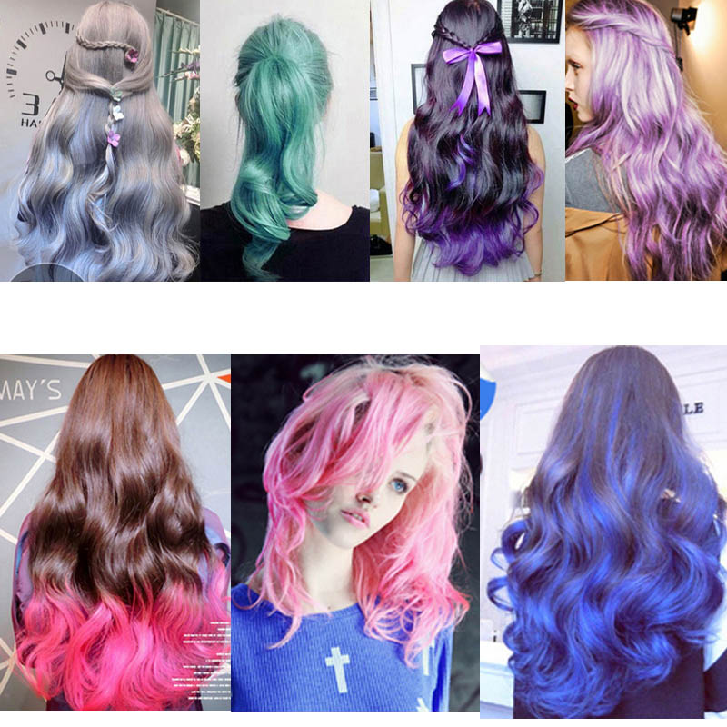 Professional Hair Color Kits Long Lasting Hair Dye One Time Hair Wax Blue Purple Pink Grey Hair Color Mascara ...