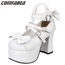 Plus Size 34~44 2017 New Spring and Autumn LOLITA Sweet bow princess shoes thick heels women girls shoes
