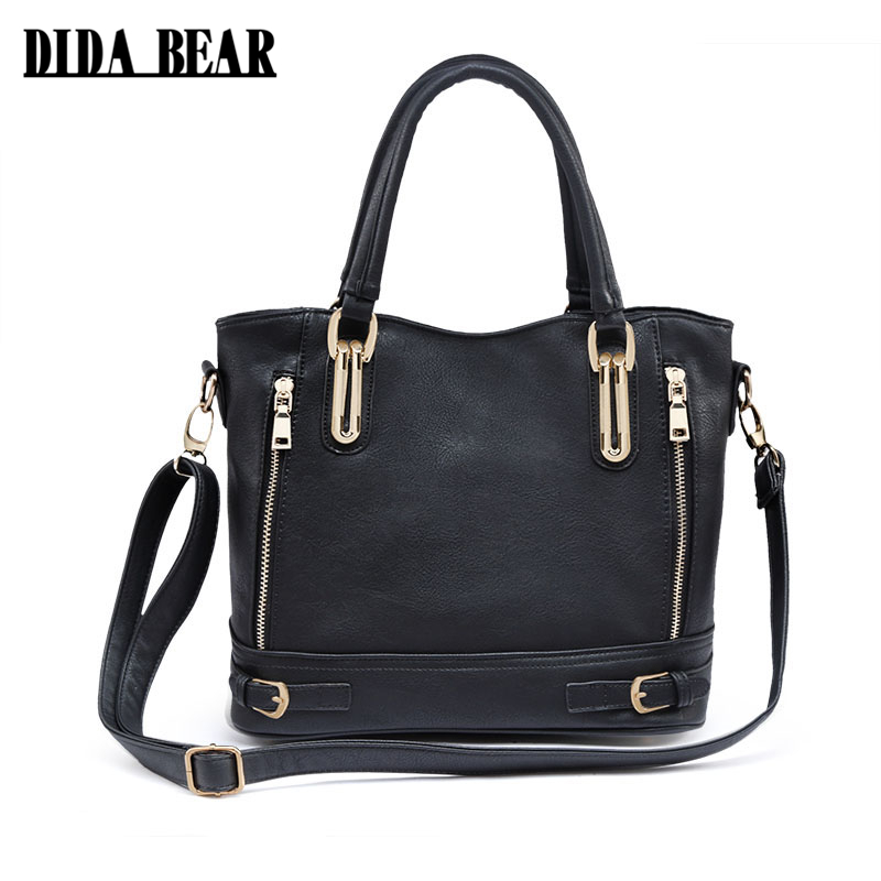 DIDA BEAR 2017 New Fashion Women Pu Leather Handbags ladies Shoulder bags tote Bag female Retro Vintage Messenger Bag Black 2017 fashion all match retro split leather women bag top grade small shoulder bags multilayer mini chain women messenger bags