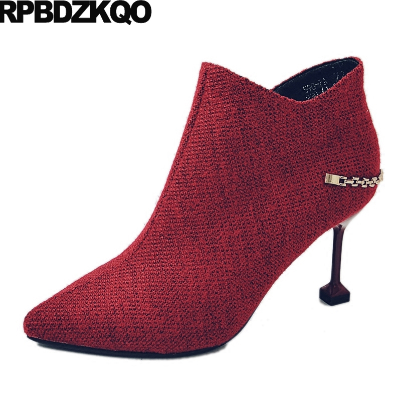 Thin Stiletto Side Zip Boots Booties Ankle Chain Pointed Toe Short Women Red Winter Metal Fashion Fur Sexy Female New Chinese booties warm shoes winter round toe side zip boots brown real fur flat casual ankle female new ladies 2017 chinese fashion short