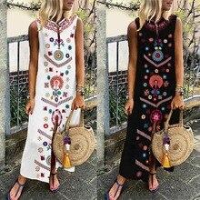 Women Sleeveless Bohemia Long Maxi Dress Summer Beach Party Sundress Plus -OPK кольцо opk crytal 193