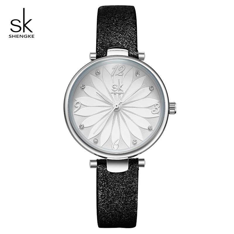 ac697ff2f439 Shengke Women Leather Watches Crystal Flower Dial Quartz Wristwatch Relogio  Feminino 2019 New SK Creative Ladies