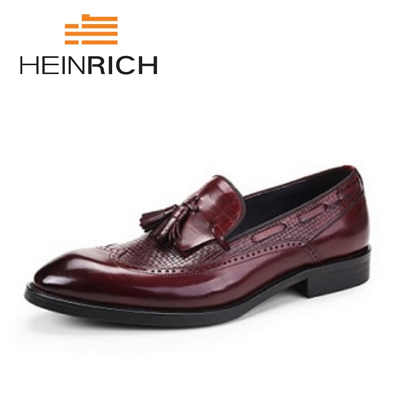 HEINRICH New Business Leather Dress Shoes Classic Bullock Formal Tassel Genuine Leather Men Shoes Sepatu Pria KantorHEINRICH New Business Leather Dress Shoes Classic Bullock Formal Tassel Genuine Leather Men Shoes Sepatu Pria Kantor