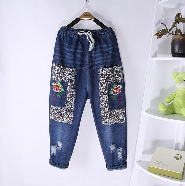 National wind stitch embroidery Holes denim pants trousers mori girl