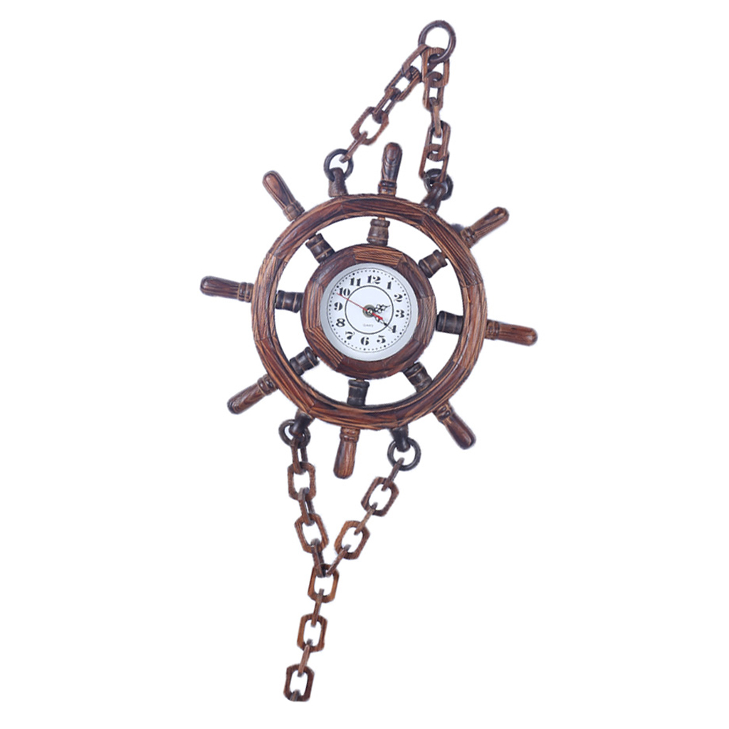 Vintage Wooden Ship Steering Wheel Shaped Clock Decorative Clock Wall Clock For Public Places Home Bar Coffee Shop Restaurant