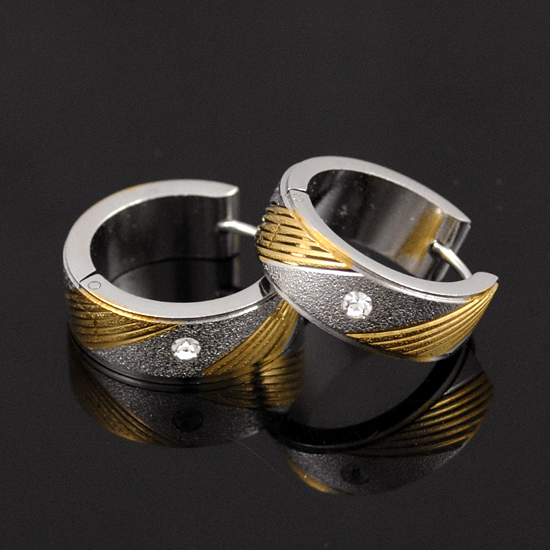 AMUMIU 2017 Gold&Silver Crystal Studs Earrings For Men 316L ...