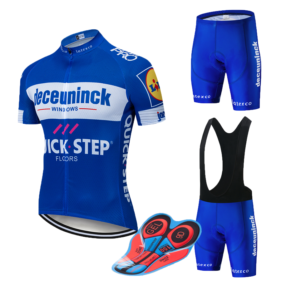 New 2019 Blue Quickstep Cycling team jersey 12D bike shorts set Quick Dry Bicycle clothes mens summer pro cycling Maillot wear
