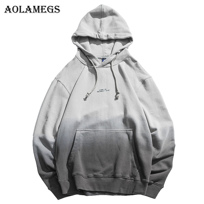 Aolamegs Hoodies Men Japanese Gradient Hooded High Street Pullover Cotton Fashion Hip Hop Streetwear Casual Pocket Hoodie Spring