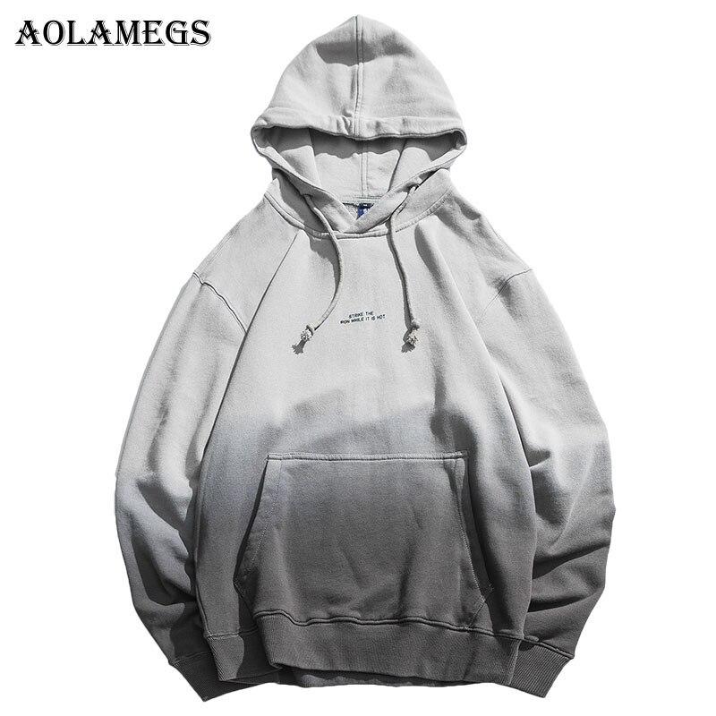 Aolamegs Hoodies Hommes Japonais Gradient Capuche Rue Pull Coton De Mode Hip Hop Streetwear Casual Pocket Hoodie Printemps