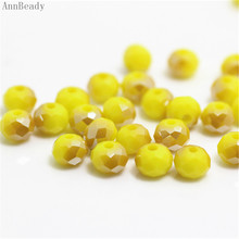 AnnBeady Solid yellow gold Color 4x6mm 50pcs Rondelle Austria faceted Crystal Glass Beads Loose Spacer Beads For Jewelry Making(China)