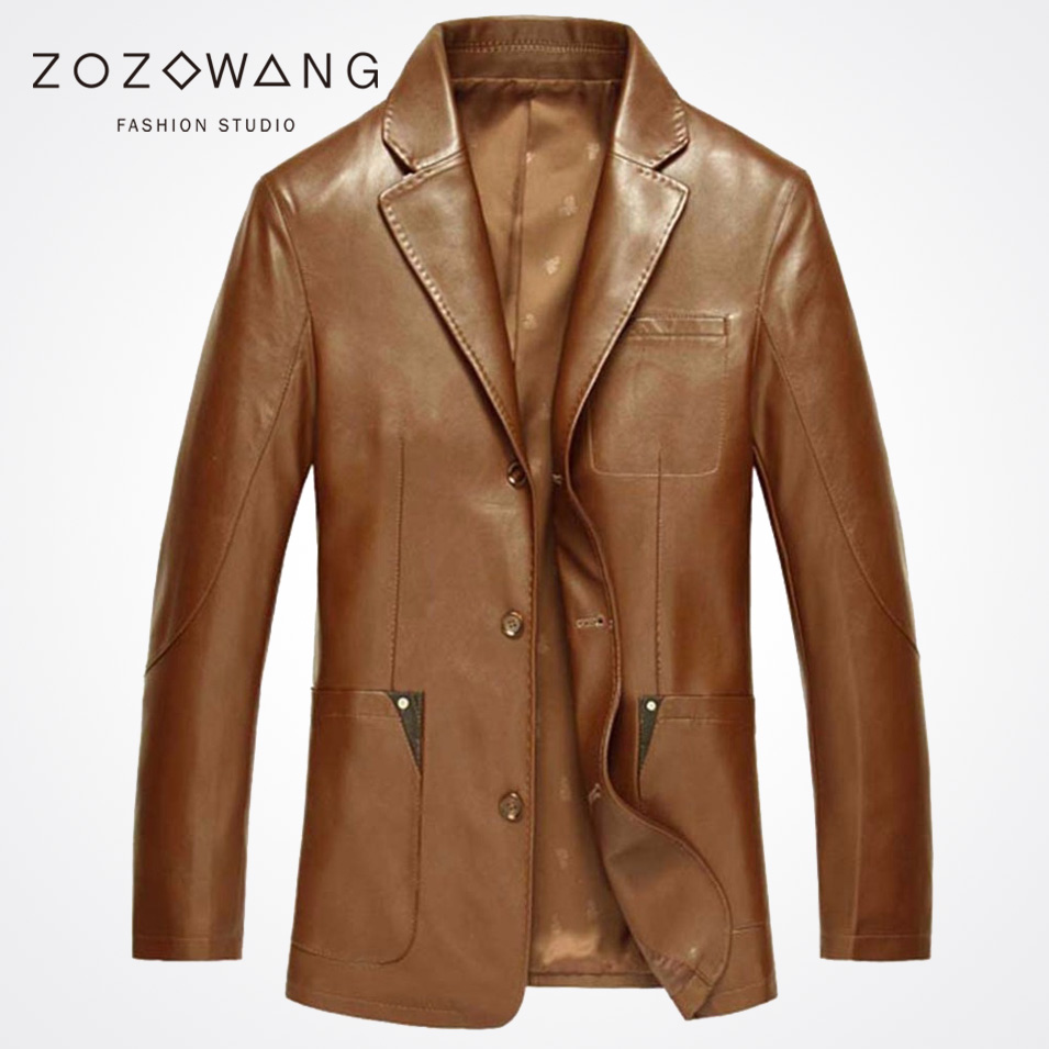 Zozowang Spring and autumn PU leather clothing leather suit mens clothing loose leather tide suit collar outerwear jacket men